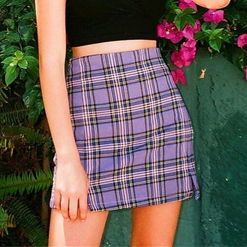 Foridol Women checked mini skirt plaid slit skirt summer beach vintage skirt retro spring cara short purple skirt girls 2020