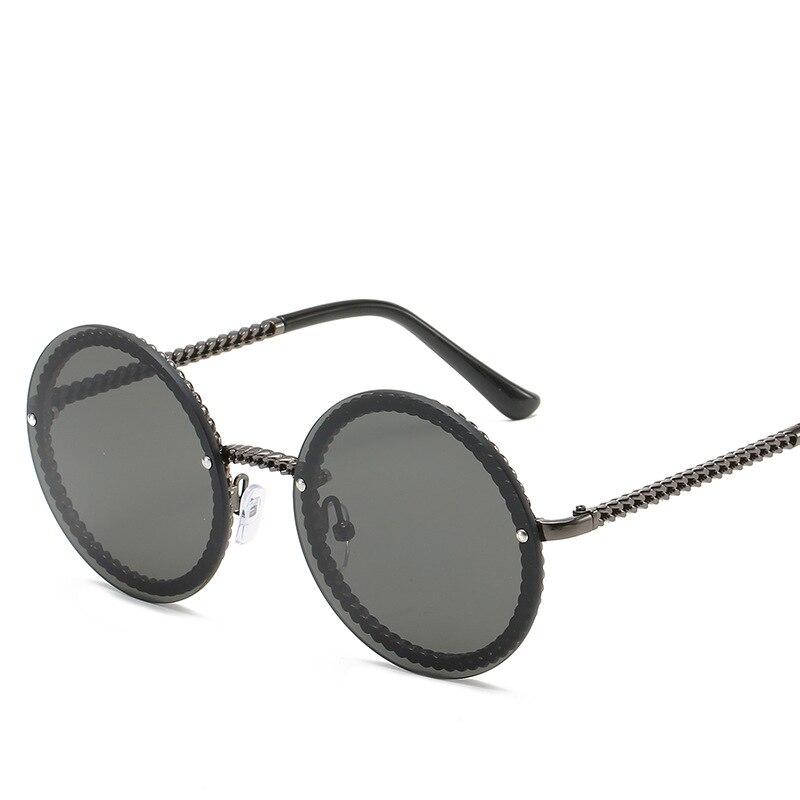 Round Rimless Sunglasses Women Luxury Trimming Gradient Shades Sun Glasses Female Metal Framless Vin