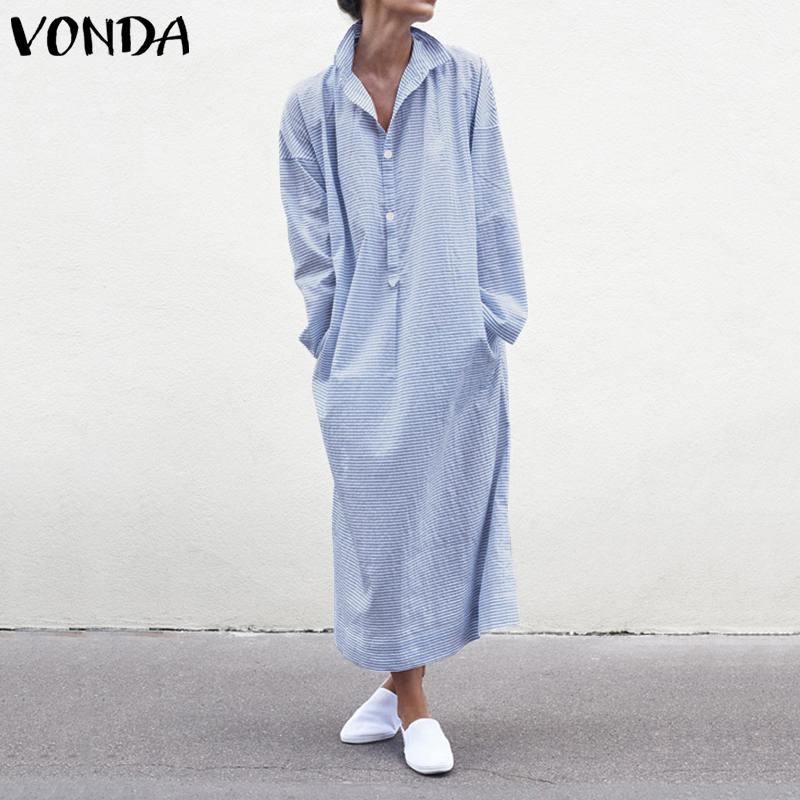 VONDA Color sólido vestido botón abajo algodón largo Maxi Vestidos Casual mujer fiesta Vestidos oversize bata mujer playa vestido