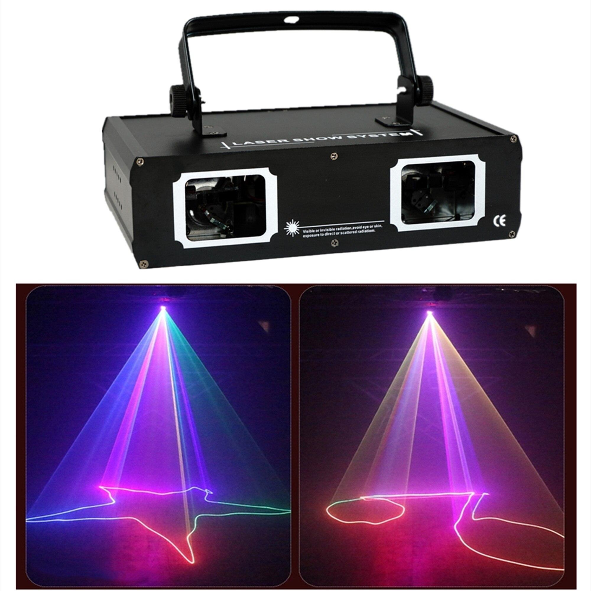 AUCD-proyector de rayo láser para DJ, dispositivo Profesional de iluminación RGB con 2 lentes, rojo, verde y azul, DMX, para fiestas, espectáculos, clubs, vacaciones y escenarios