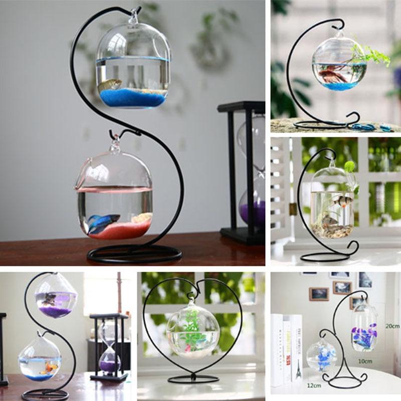 Desktop Hanging Glass Fish Tank  Mini Grass Fun Fish Tank Clear Fish Cylinder Bowl Iron Stand Holder Aquarium Accessories Flower