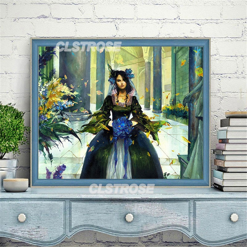 Diy Diamond Painting Figure Girl On The Beach To Pack Up Fishing Tools Rusty Diamond Home Decoration Wall Can Be Customized  - buy with discount