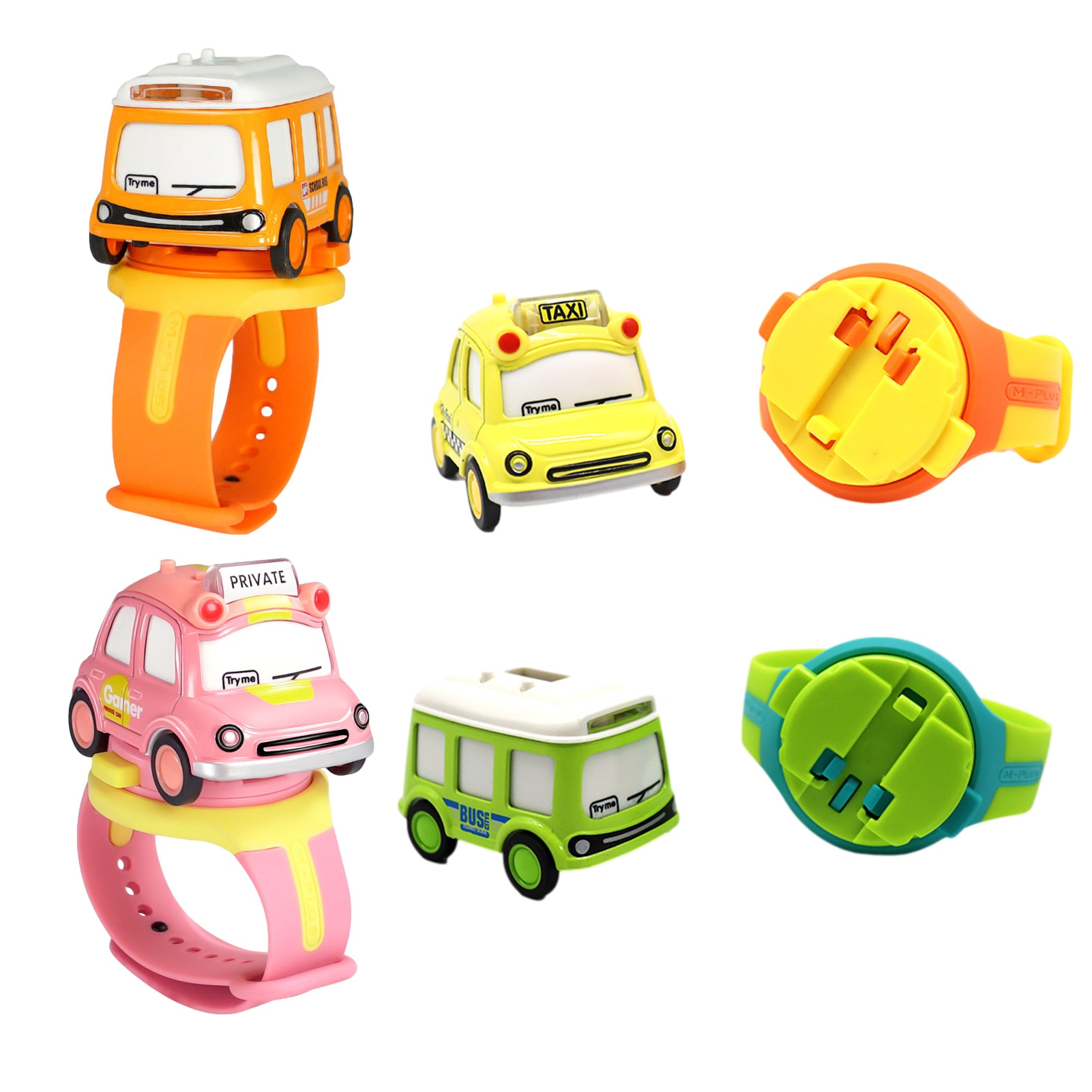 1:62 Alloy Car-with Digital Display Watch Q Version Trolley Bus Interactive Induction With Light And
