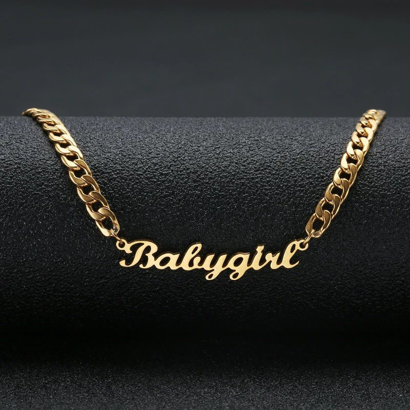 Hip Hop Jewelry Cuban Chain Customized Nameplate Necklaces for Women Men Punk Gold Tone Solid Personalized Custom Name Necklace hip hop jewelry cuban chain customized nameplate necklaces for women men punk gold tone solid personalized custom name necklace