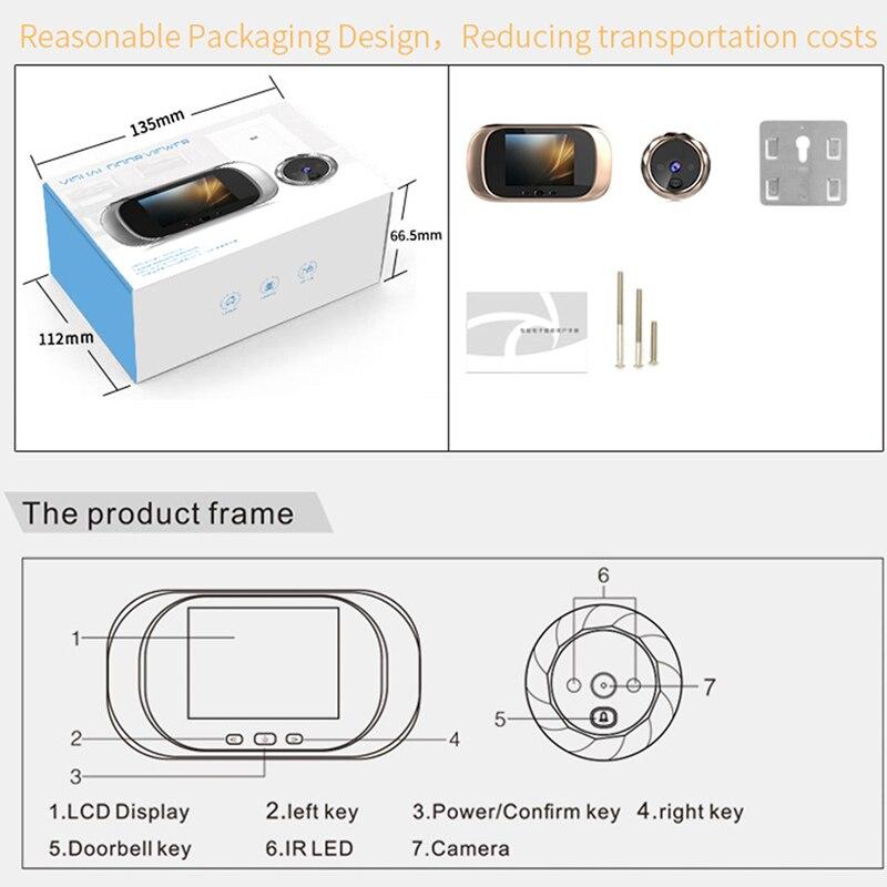 2.8 inch LCD Color Screen Digital Doorbell 90 Degree Door Eye Doorbell Electronic Peephole Door Camera Viewer Outdoor Door Bell enlarge