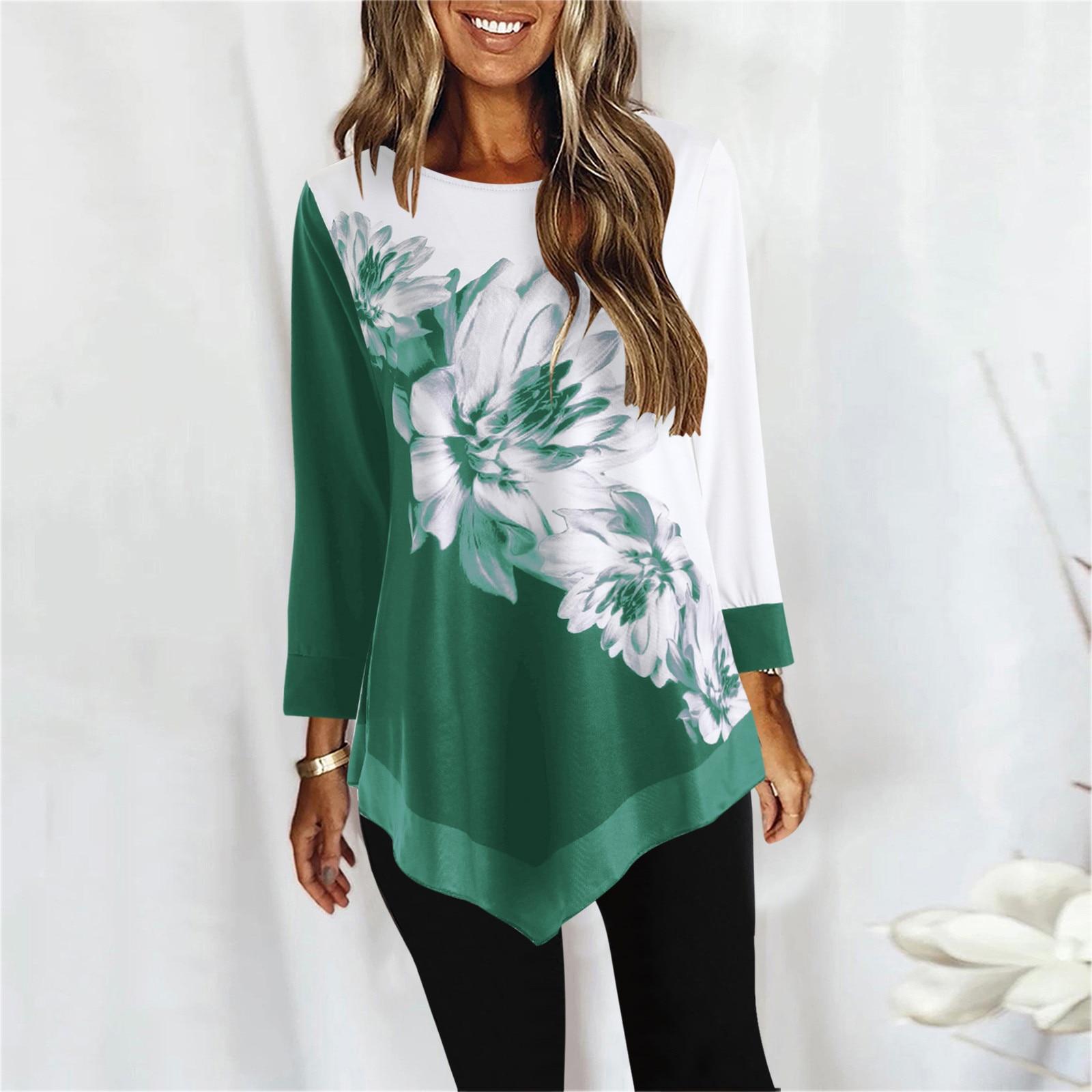 Blusa informal De manga larga con estampado Floral para verano, camisa con...
