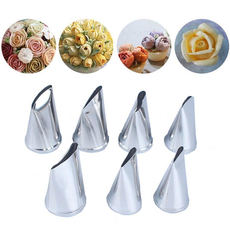Boquillas TTLIFE 7 piezas de acero inoxidable para crema, boquillas para glaseado, boquillas para glaseado, flor de tulipán rosa, boquillas para repostería, herramientas para decoración de pasteles