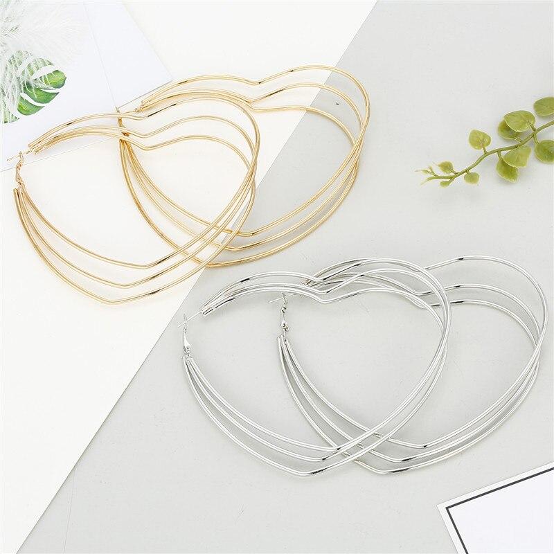 1 par minimalista hyperbolic multilayer grande coração hoop brincos para as mulheres europeu ouro metal cor grande círculo earringsjewelry