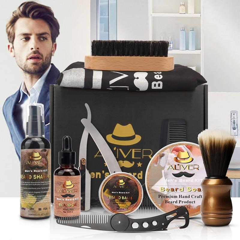 NEW 12pcs/set Men Beard Kit Beard Balm Beard Oil Comb Moisturizing Wax Styling Tool Scissors Beard Care Set Bib Aprons