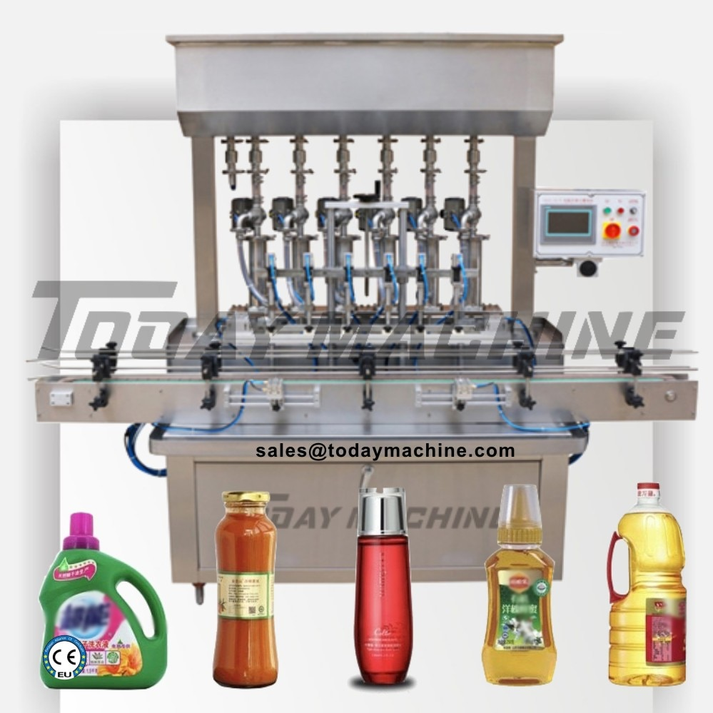 2020 Multi Heads 6 Nozzles Liquid Filling Machine / Automatic Overflow Liquid Bottle Filler for Beverage Juice