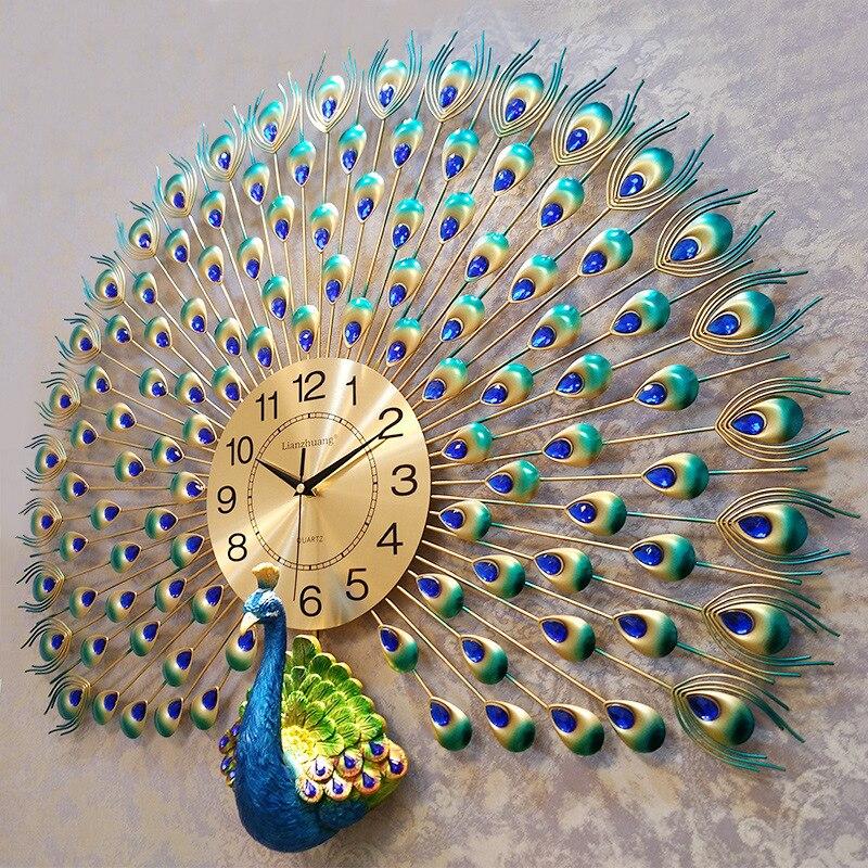 Relojes de pared de Pavo Real de cristal grande, decoración de pared del hogar, diseno moderno, decoración de boda, envío directo