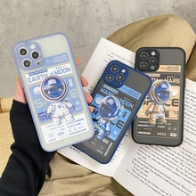 Cartoon Moon With Rocket And Spaceman Phone Cases For iPhone 12 Pro Max Mini 11Pro XR XS MAX 8 X 7 P