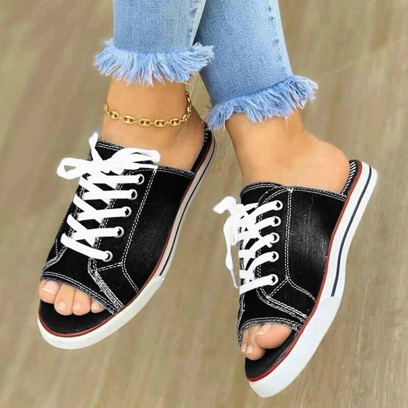 Women Slippers Denim Peep Toe Sandals Flat Ladies Shoes Summer Home Female Plus Size 42 43 Casual Fashion 2020 Woman New Comfort