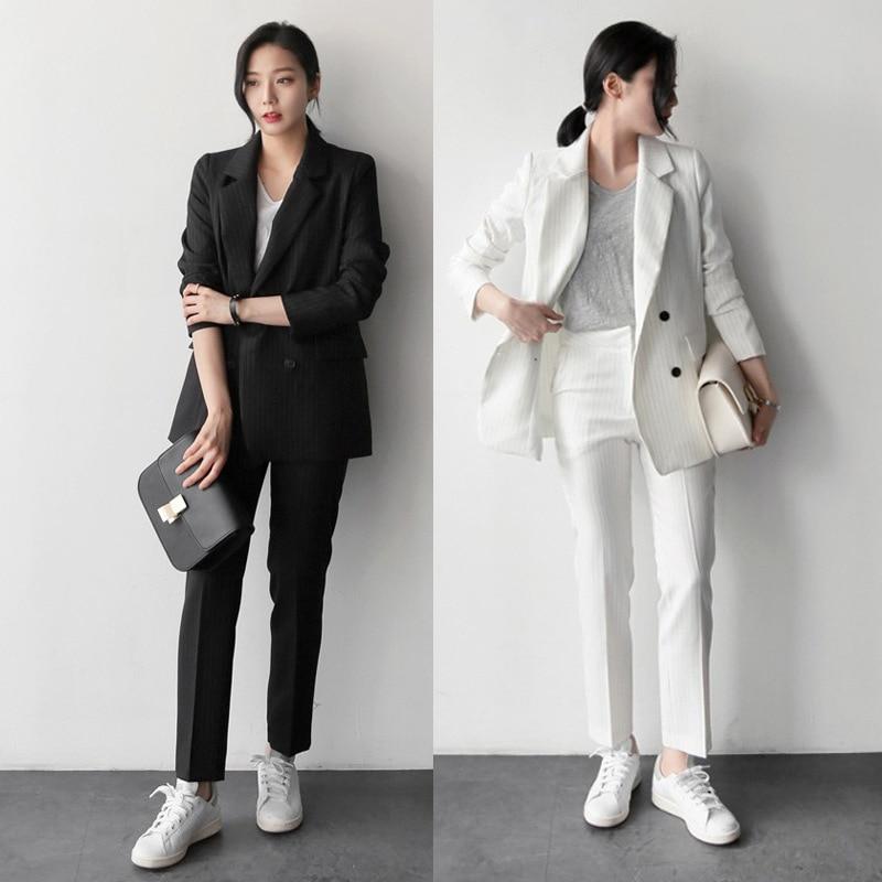 Women Spring Autumn Blazer Pant Suits Vintage Black White Thicken Women Pant Suit Notched Blazer Jacke Pant Set 2021 Office Wear