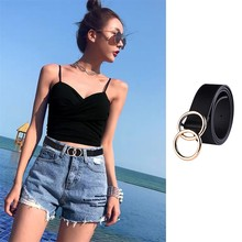 Female Fashion Metal Buckle Waist Belt For Jeans Double Ring Buckle Ladies Belt Casual Wild Double B
