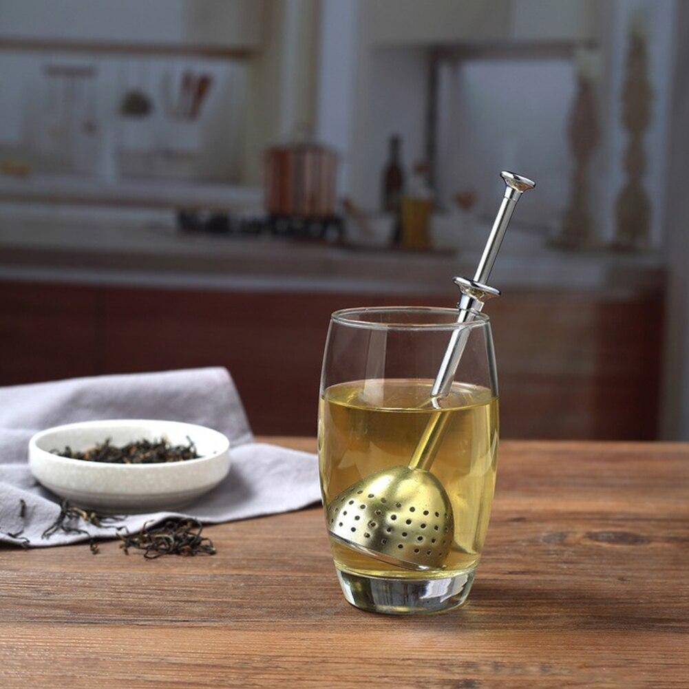 Infusor portátil ligero mango largo retráctil profesional colador de té herramienta de cocina prensa tipo Acero inoxidable efectivo