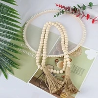 wood bead garland with tassels rustic wall decorative ornament hemp rope woven wall hanging decorations