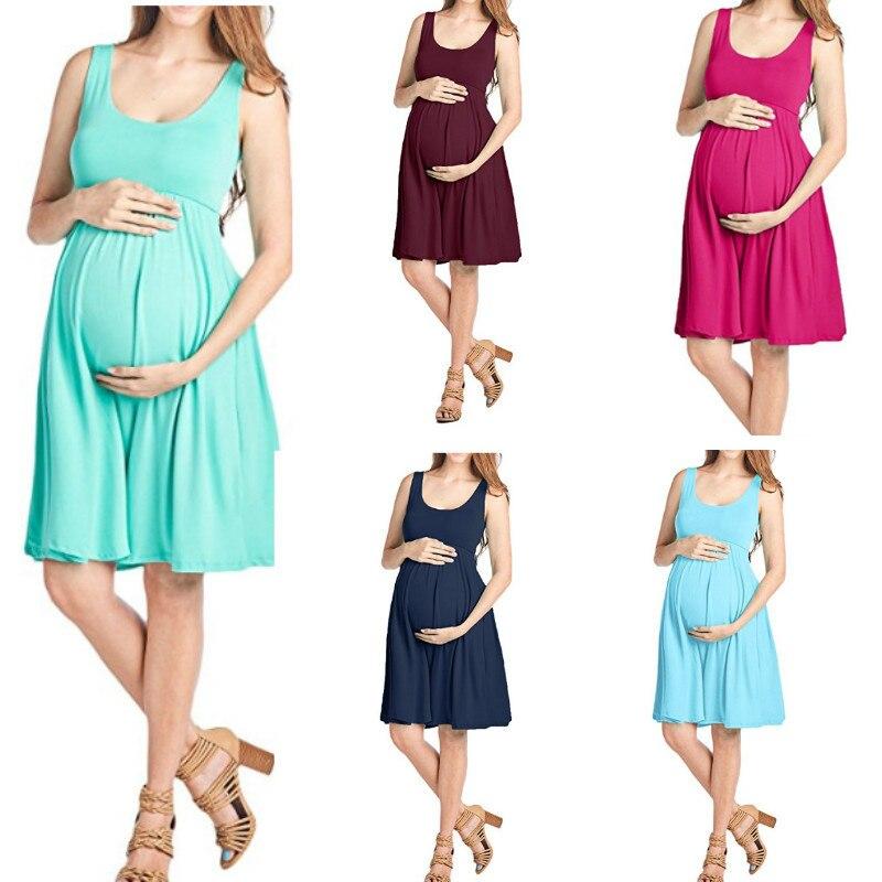 Kyle Keith Women's Sleeveless Tank Ruched Maternity Dress  Zwangerschaps Kleding