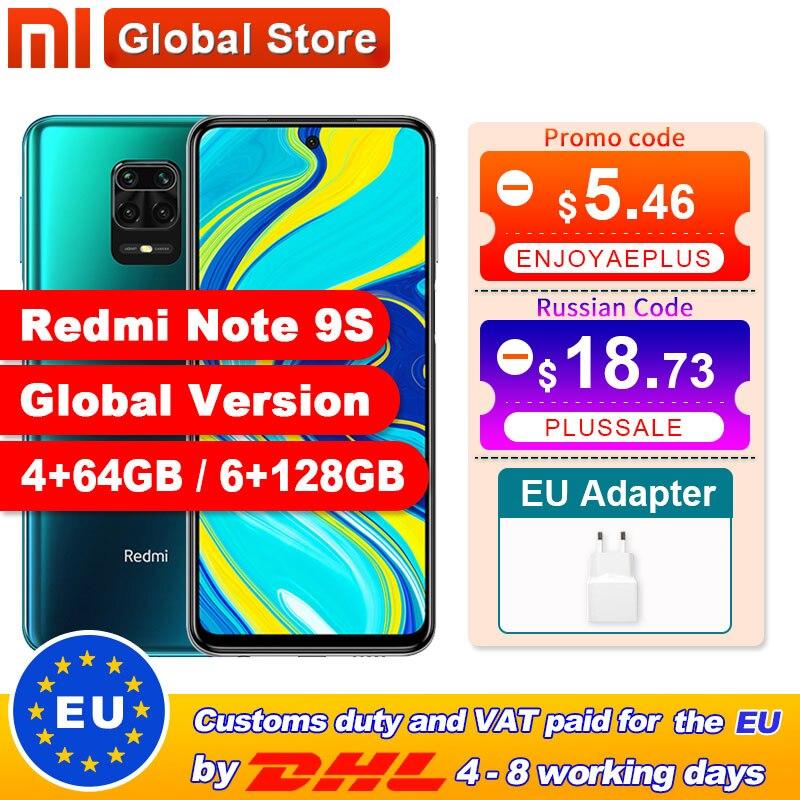 Versão global xiaomi redmi nota 9s 4gb 64gb/6gb 128gb smartphone snapdragon 720g octa núcleo 5020 mah 48mp quad câmera