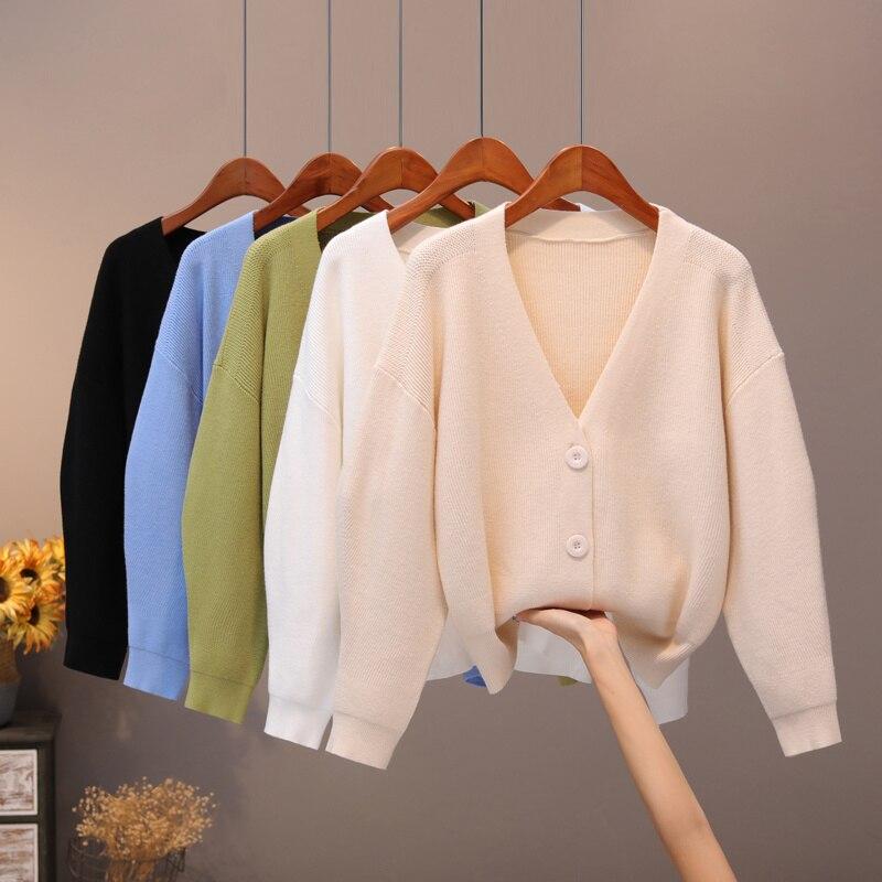 Dzianinowy płaszcz damski wiosenny i jesienny nowy luźny dekolt w serek jednokolorowy sweter uniwersalny sweter koreański prostota zewnętrzne szczyty