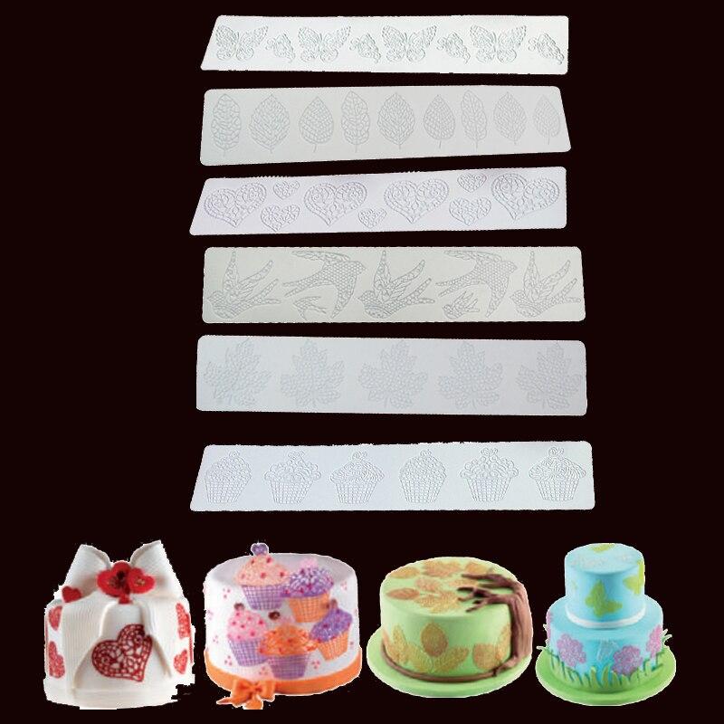 Sugarcraft, molde de silicona con forma de corazón, molde para Fondant, herramientas de decoración de pasteles, moldes para Chocolate y goma comestible, hoja 3D, estera de encaje de silicona para hornear