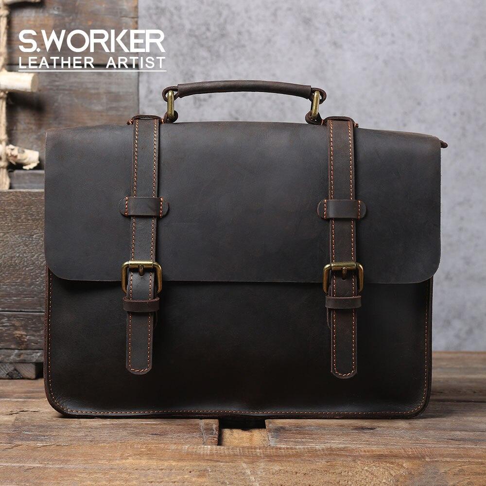 S. worke vintage genuíno couro mochila bolsa de ombro dos homens bolsa crazy-cavalo de couro de escola bolsa feminina retro