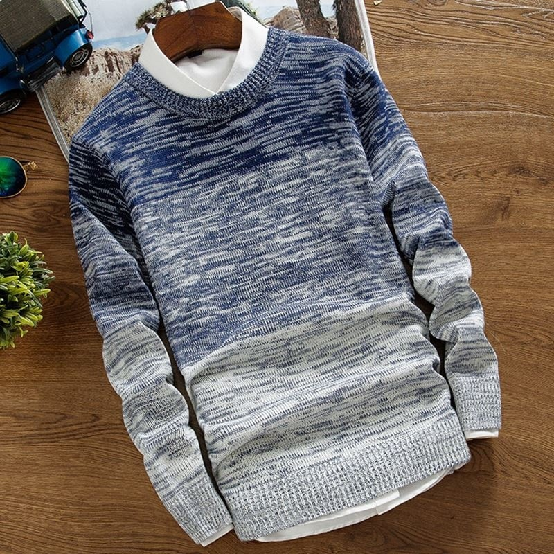 Suéter para Hombre, otoño 2019, Jersey coreano para Hombre, ropa de calle de cuello redondo para estudiante, ropa de abrigo a la moda con degradado a juego de Color para Hombre