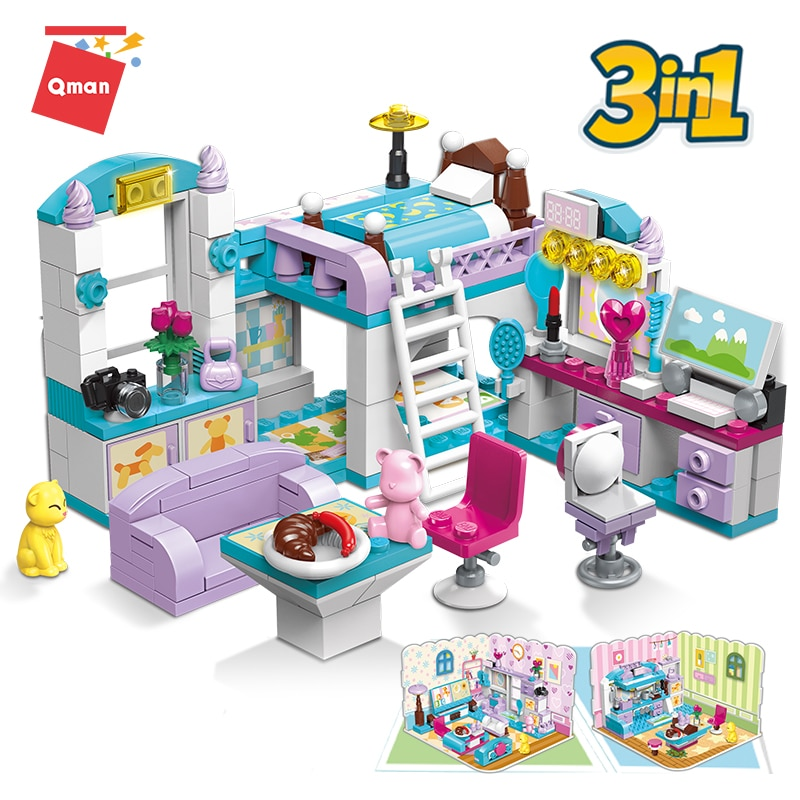 Qman 3 Building Methods Girls Dream Home Series Kit Educational Blocks Toy Build Girl's Bedroom or Living Room or Kitchen