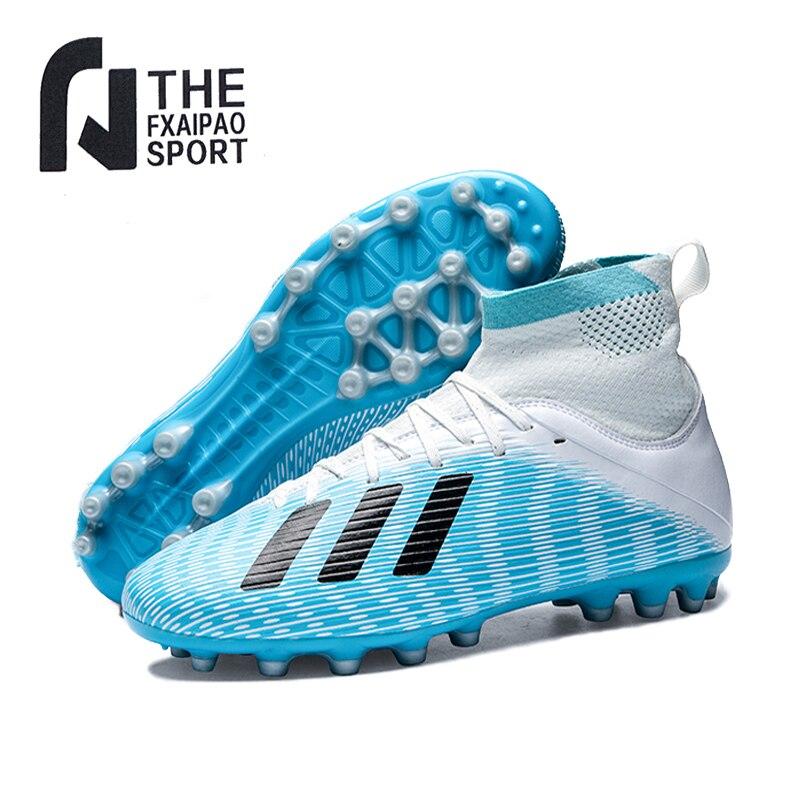 Фото - Мужская футбольная обувь, подростковые высокие голеностопки, Нескользящие тренировочные футбольные бутсы FG/TF, детские дышащие мягкие улич... бутсы детские nike superfly 7 academy mds fg mg bq5409 110