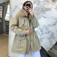 2020 winter new big raccoon fur collar parkas female korean casual belted mid length detachable real rabbit fur liner fur coat
