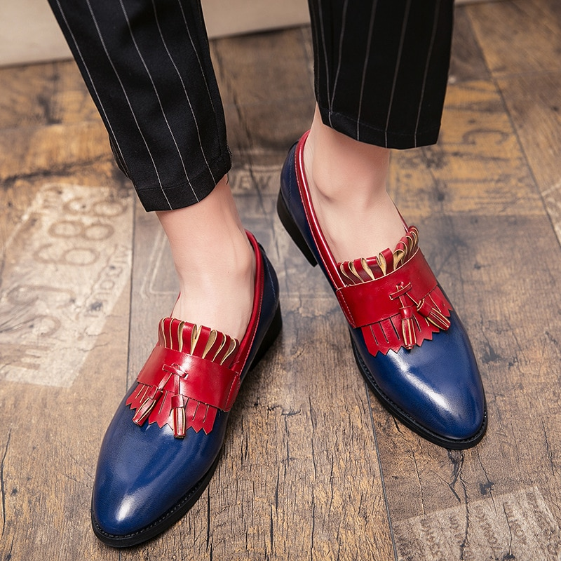 2021 New Men's Fringed Leather Shoes Popular Pointed Shoes Casual Shoes Lazy Shoes Trendy Male Briti