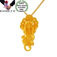 omhxfc wholesale pn484 european fashion fine woman girl party birthday wedding gift fortune pixiu coin 24kt gold pendant charm