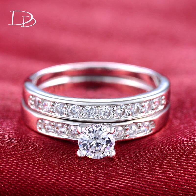 Женские серебряные кольца DODO, модные обручальные кольца с кубическим цирконием ring set rings set for womenset for women   АлиЭкспресс