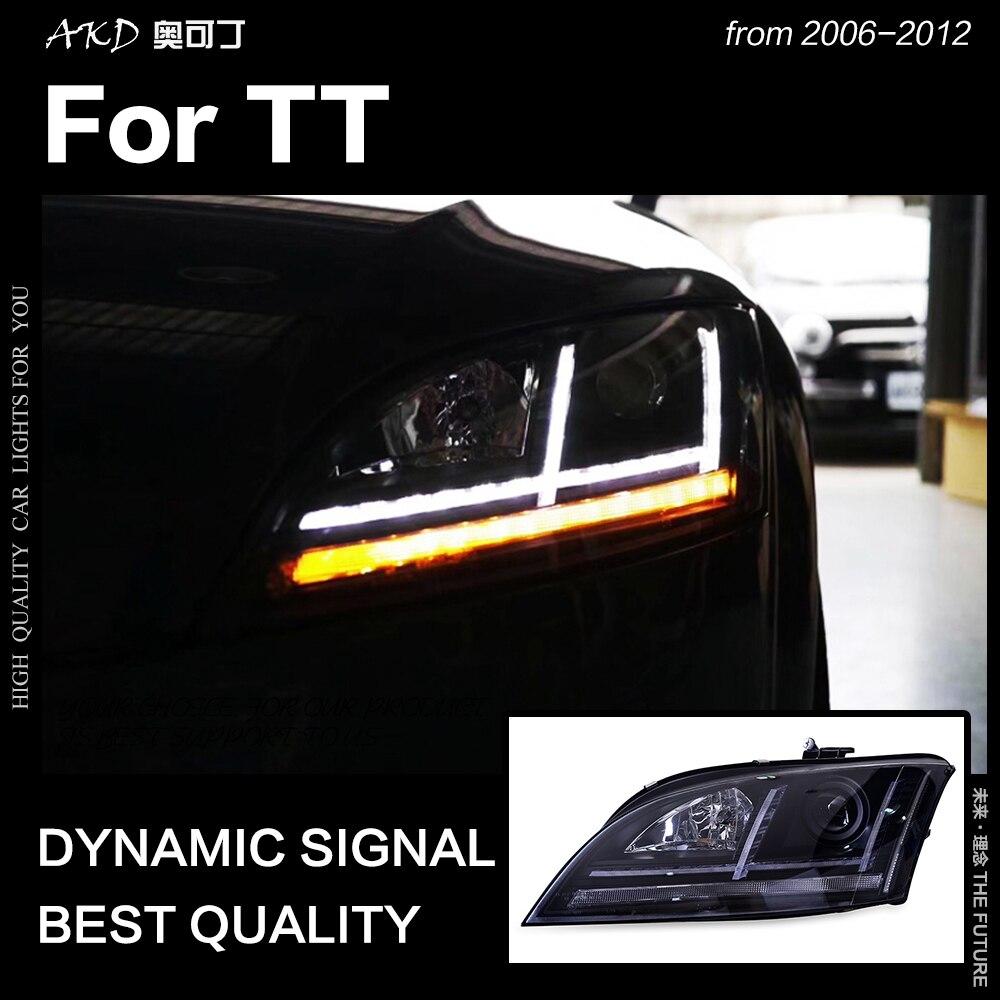 AKD estilo de coche lámpara de cabeza para Audi TT faros 2006-2012 TT faro LED DRL lámpara de señal Hid Bi xenón Auto Accesorios