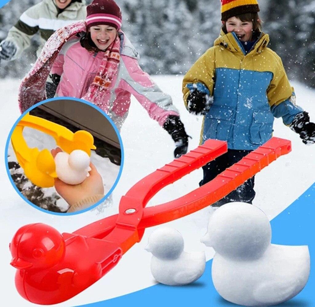 4 Uds. Dibujos Animados encantador pato en forma de fabricante de bolas de nieve Clip niños al aire libre invierno nieve arena molde herramienta deportes creativos niños regalos