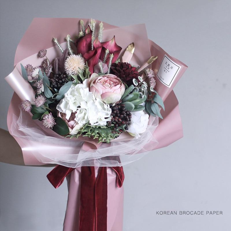 20 piezas empaque de ramo de flores brillantes 60x60cm paquete de papel floristería suministro regalo envoltorio papel artesanal DIY paquete de Material hecho a mano