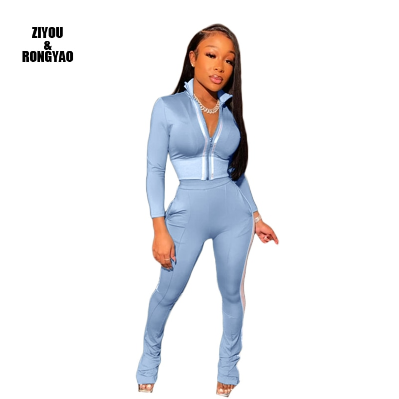 Women Sports Set Two Piece Set Top+Long  Tracksuits women Spring Street t-shirt Tops and Jogger Set Suits Casual Sports Outfits