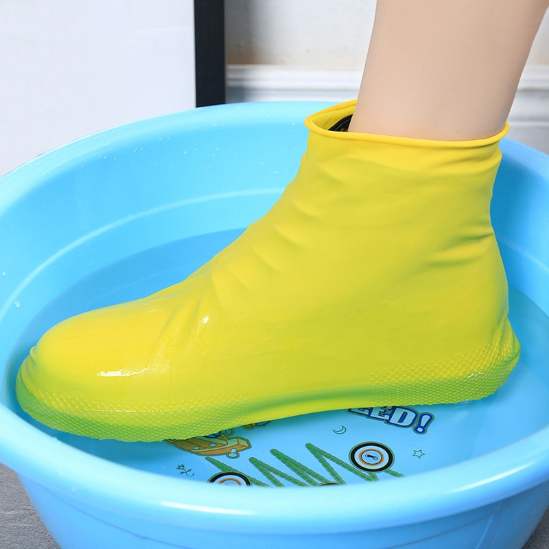 reusable step in sock portable auto package overshoes waterproof shoe covers shoe boot cover automatic 1 Pair Reusable Latex Waterproof Rain Shoes Covers Slip-resistant Rubber Rain Boot Overshoes Unisex Cycling Sport Shoe Cover