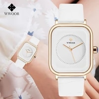 2021 wwoor ladies watch fashion white square wrist watch simple ladies top brand luxury leather dress casual watches reloj mujer