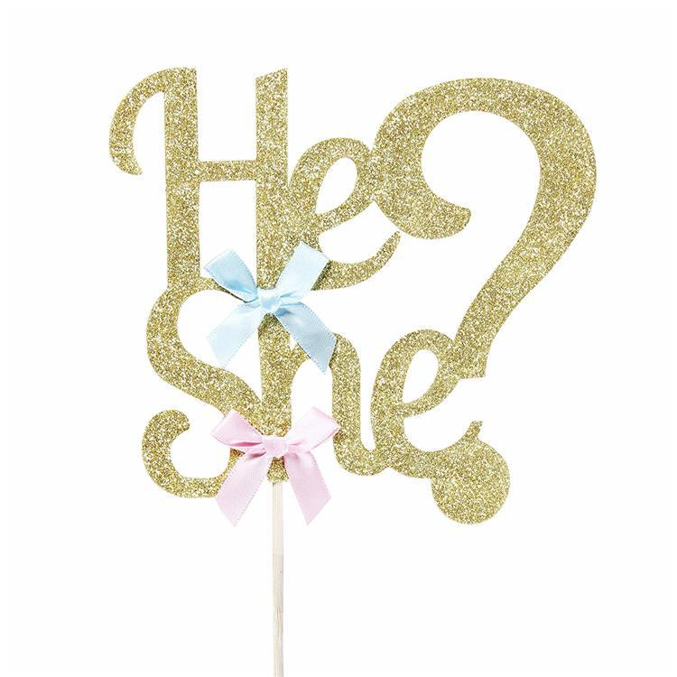 He Or She Gender Reveal Cake Topper Party Decoration Suppliers Girl Or Boy Bow Clothes Cupcake For Baby Shower Cake Decor