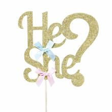 He Or She Gender Reveal Cake Topper Party Decoration Suppliers Girl Or Boy Bow Clothes Cupcake For B