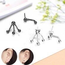 Todorova Korean Fashion Front Back Double Sided Stud Earrings for Women Asymmetric Small Ball Ear Jackets Piercing Jewelry