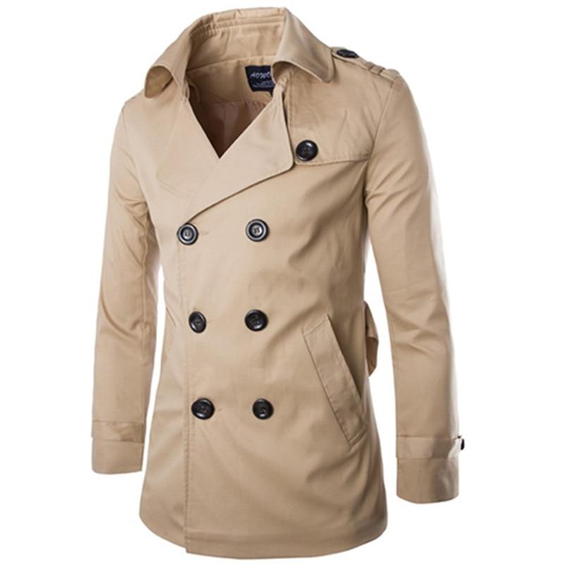 Gabardina para Hombre, chaqueta cortavientos para otoño e invierno, nuevo Abrigo ajustado...