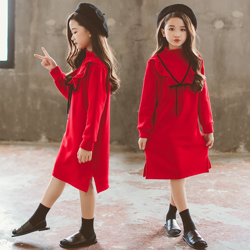 Платье для девочек, одежда зимнее красное бархатное платье принцессы костюм с длинными рукавами Детский новогодний костюм, 5, 6, 4, От 7 до 15 ле...