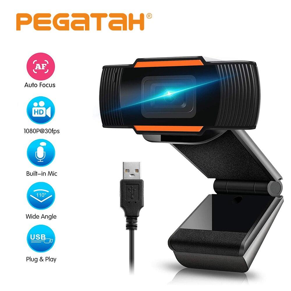 Webcam completo hd 1080p câmera web rotatable com microfone de cancelamento de ruído câmera usb plug and play para loptop skype pc web cam