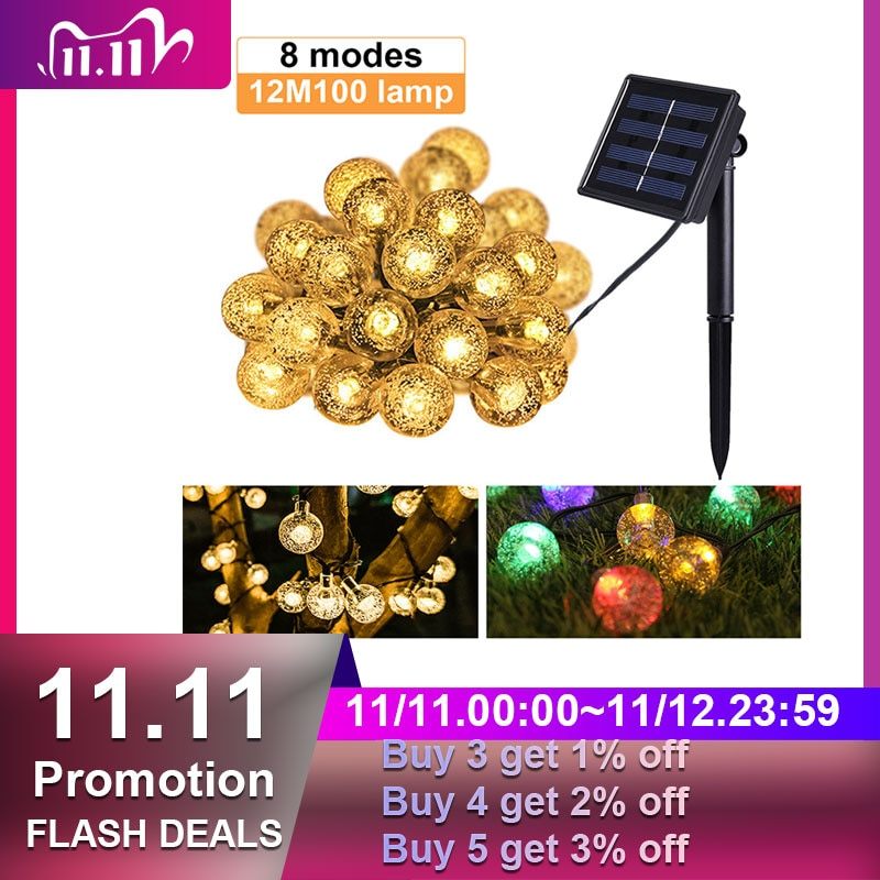 Luces solares de 8 modos para exteriores, 20/50/100 LED, bola de cristal,...