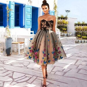 Eightree Knee Length Evening Dresses Colorful Butterfly Short Prom Dress Sweetheart Lace Appliques Evening Party Gown Lace Up