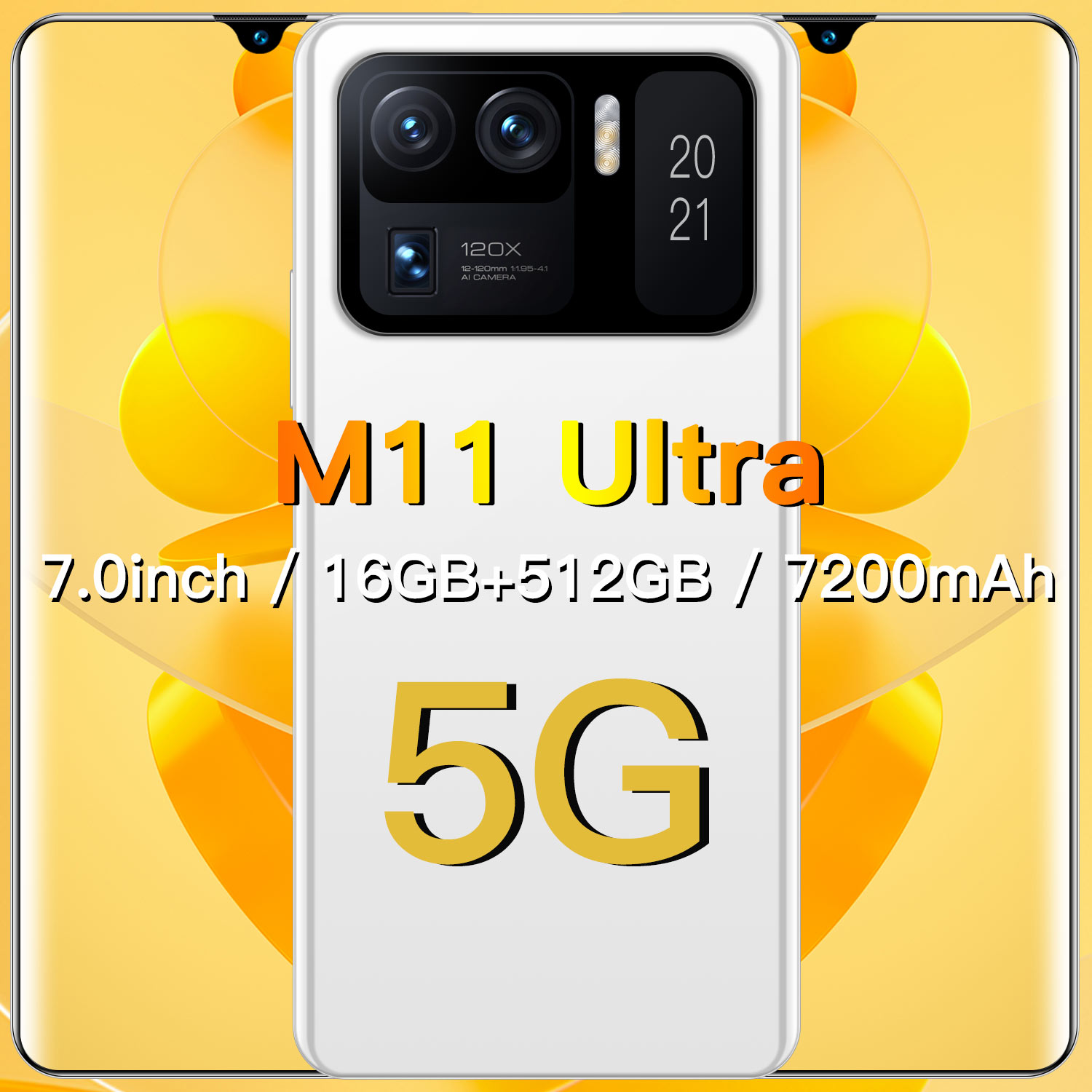 2021 New Smartpone M11 Ultra Global Version Smartphonr 16G 512G Android10 7200mAh Snapdragon 888 Fac