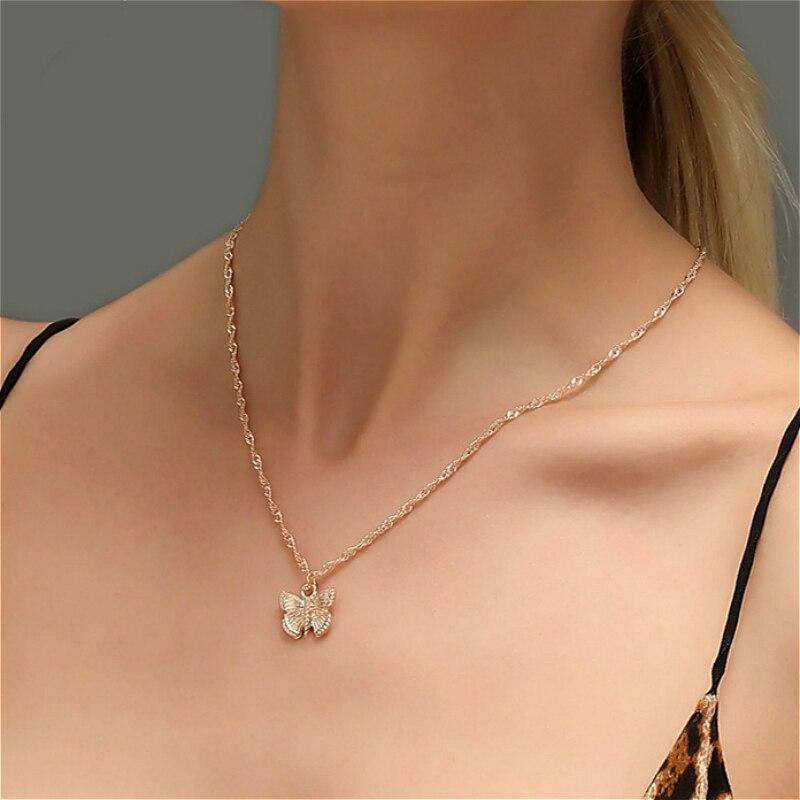 Collares estéticos con colgante de mariposa para mujer, Gargantilla sencilla de moda de Color dorado, collar de cadena, joyería, collar para mujer