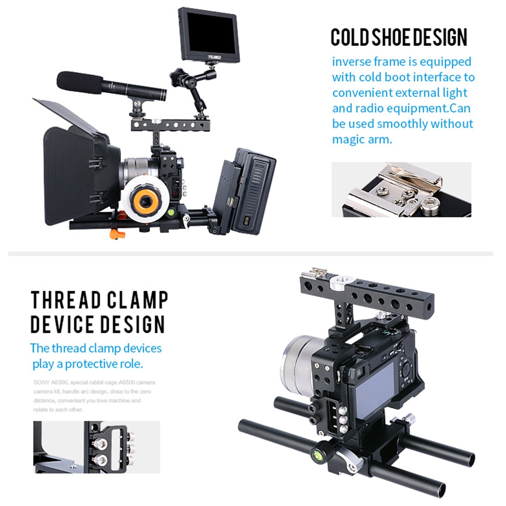 YELANGU C6 Portable DSLR Camera Cage Smallrig With Top Handle for Sony A6000/A6300/A6500 Professional SLR Video Shooting Cage enlarge